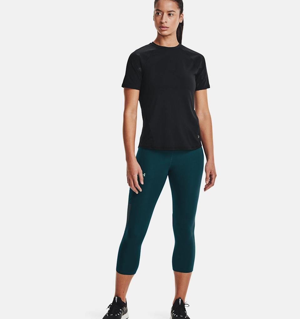 <p>No matter how much you're sweating or how many sets you have left, the waistband of these <span>UA RUSH No-Slip Waistband Vent Capris</span> ($70) won't budge. ArmourVent mesh adds breathability, while the mineral-infused fabric is designed to absorb energy and promote circulation, so you can push through your toughest workouts as comfortably as possible.</p>