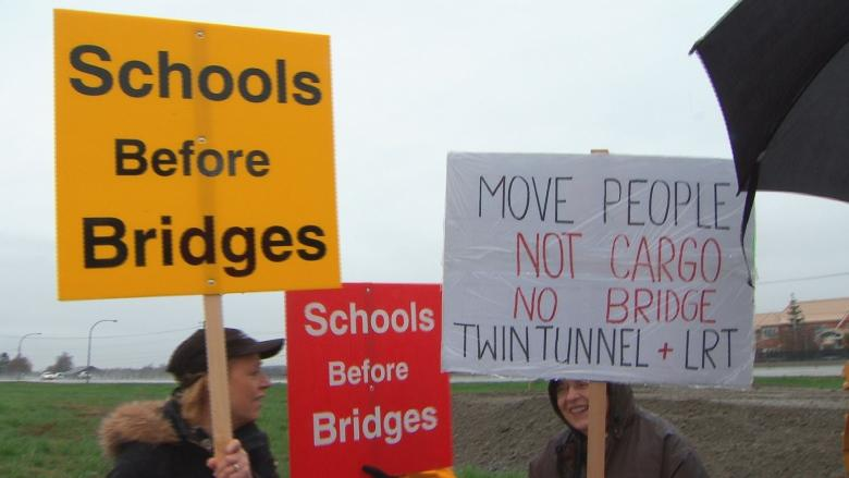 Protesters crash groundbreaking for bridge to replace Massey Tunnel