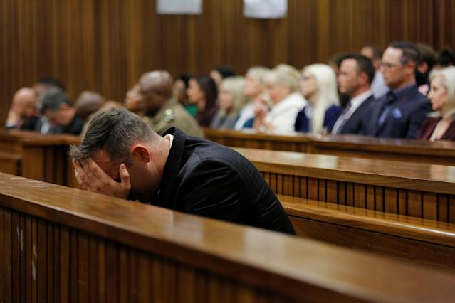 Former Paralympian Oscar Pistorius appears for sentencing for the murder of Reeva Steenkamp at the Pretoria High Court, South Africa June 14, 2016. REUTERS/Kim Ludbrook/Pool