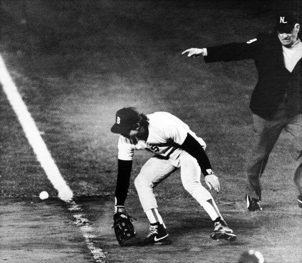 """<p><strong>October 25, 1986</strong>: Baseball has plenty of heroes, but Red Sox first baseman Bill Buckner's failure to field a routine ground ball in the 1986 World Series unfortunately makes him the one of the game's all-time goats. With a comfortable 5-3 lead in the bottom of the 10th in Game 6 (and a series lead of 3-2), Boston allows the Mets to tie it up. Mookie Wilson's ground ball to first looks like the game will go to the 11th, but Buckner (playing on bad ankles) lets the ball roll between his legs as the winning run scores. It not only propels the Mets to an improbable Game 6 victory, but opens the door for them to win the Series in seven. """"It's a shame that Buckner, who was a very fine player for many years, is now remembered for one play,"""" says Thorn.<br> </p>"""