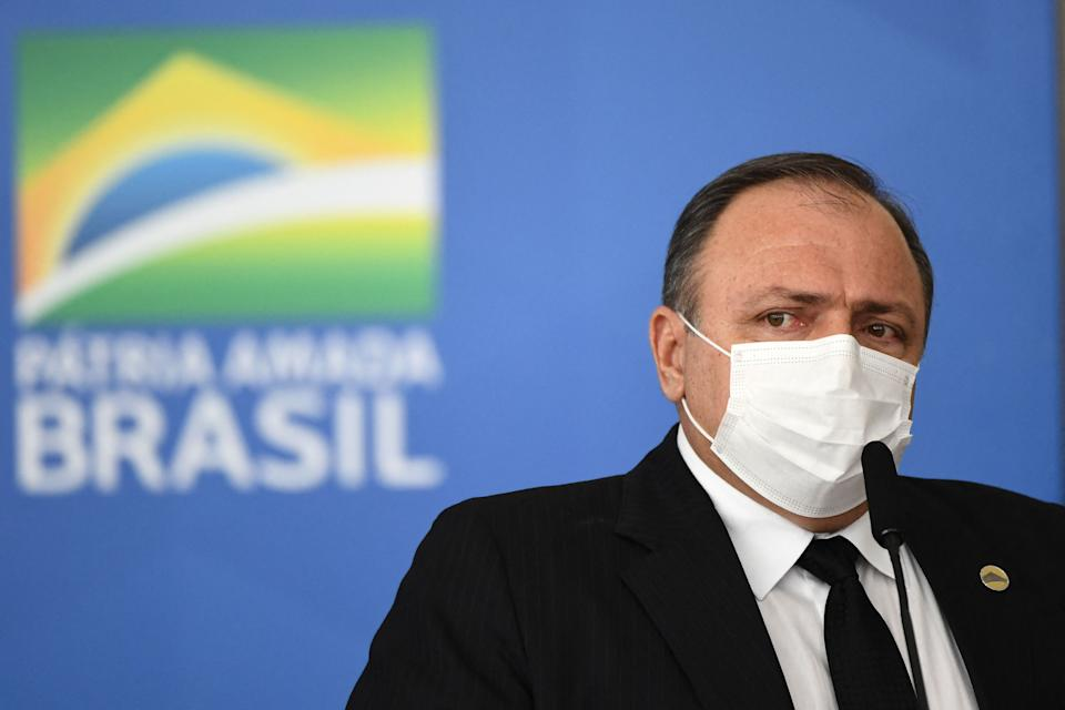 Brazilian Health Minister General Eduardo Pazuello speaks during the sanction of the law that authorizes states, municipalities and the private sector to buy vaccines against COVID-19, at the Planalto Palace in Brasilia, on March 10, 2021. - Until now, with more than 260,000 deaths by the coronavirus, only the federal Government was authorized to buy vaccines. (Photo by EVARISTO SA / AFP) (Photo by EVARISTO SA/AFP via Getty Images)