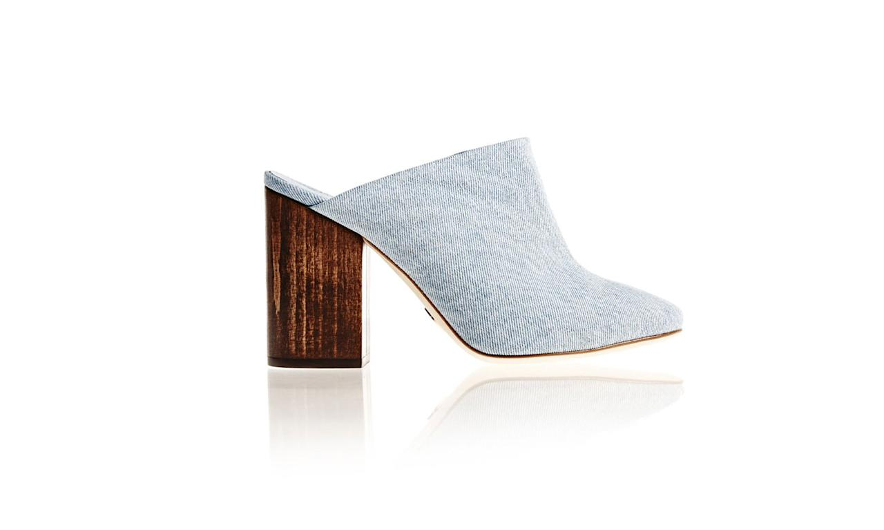 "<p>Brother Vellies shoes are handmade from byproduct or environmentally conscious materials. This denim mule is made from recycled denim and assembled from waste.<br /><br />Denim Bianca Mule, $495, <a rel=""nofollow"" href=""https://brothervellies.com/products/bianca-mule-in-denim"">brothervellies.com</a> </p>"