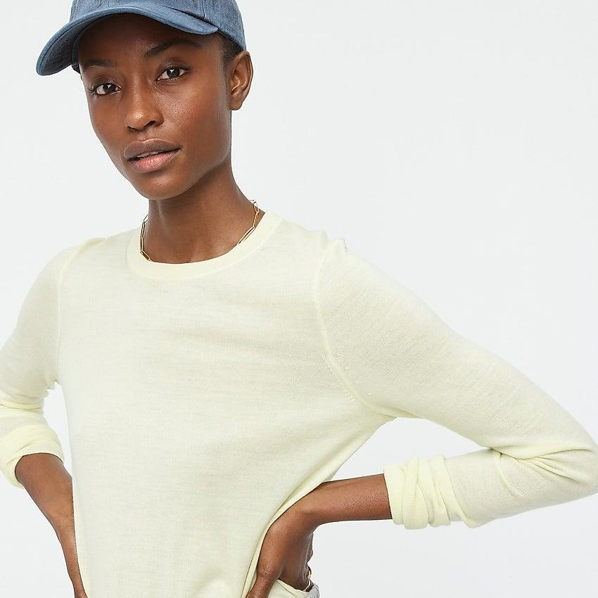 """<br><br><strong>J. Crew</strong> Margot crewneck sweater, $, available at <a href=""""https://go.skimresources.com/?id=30283X879131&url=https%3A%2F%2Fwww.jcrew.com%2Fp%2Fwomens%2Fcategories%2Fclothing%2Fsweaters%2Fpullovers%2Fmargot-crewneck-sweater%2FAM146%3Fdisplay%3Dsale%26fit%3DClassic%26isFromSale%3Dtrue%26color_name%3Dhthr-guava%26colorProductCode%3DAM146"""" rel=""""nofollow noopener"""" target=""""_blank"""" data-ylk=""""slk:J. Crew"""" class=""""link rapid-noclick-resp"""">J. Crew</a>"""