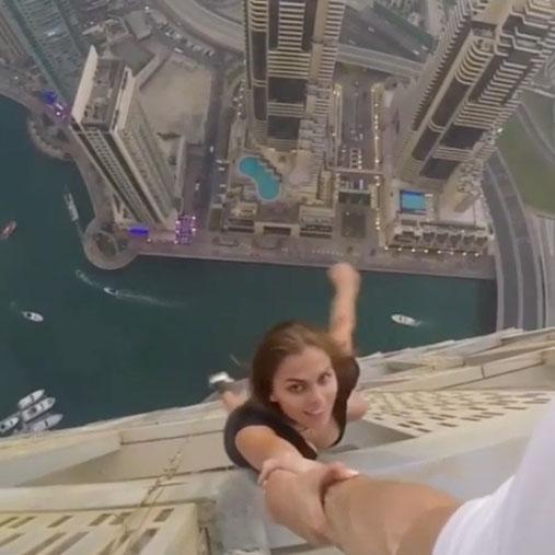 Footage (presumably from her assistant) shows exactly how dangerous the stunt was. Photo: Mavrin Studios