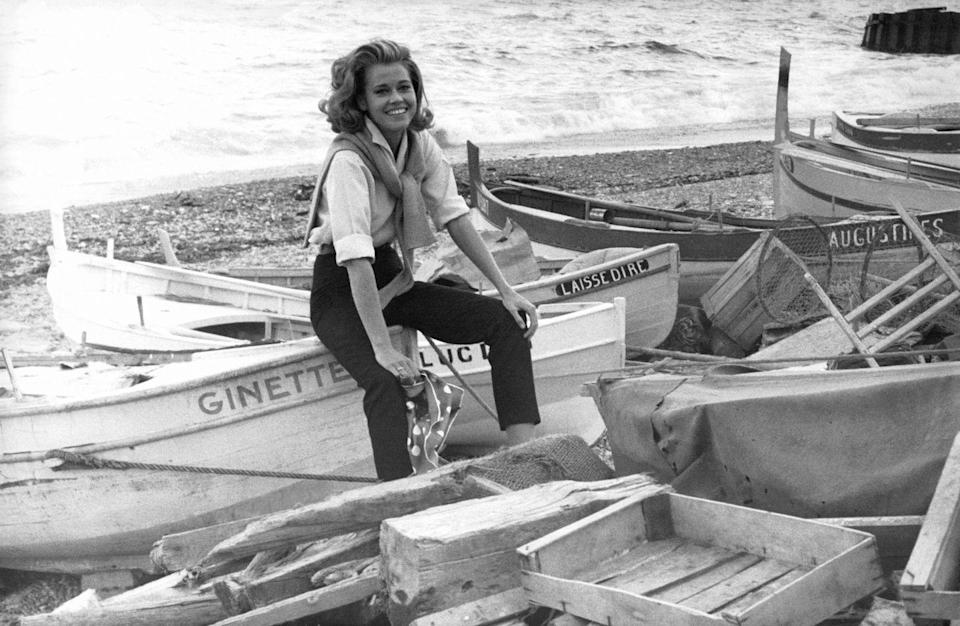 <p>Jane Fonda poses amongst boats in France.</p>