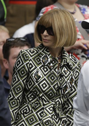 U.S. Vogue editor Anna Wintour arrives to watch Roger Federer of Switzerland and Julien Benneteau play in a third round men's singles match at the All England Lawn Tennis Championships at Wimbledon, England, Friday, June 29, 2012. (AP Photo/Alastair Grant)