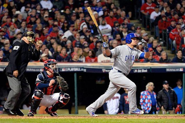 Kyle Schwarber, doing work in the World Series. (Photo by Ron Vesely/MLB Photos via Getty Images)
