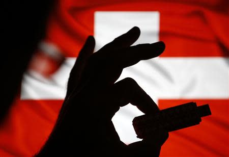 A man poses holding a USB datastick in his hand in front of the Swiss flag in this photo illustration taken in the central Bosnian town of Zenica