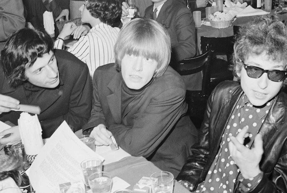 <p>Bob Dylan with Brian Jones of the Rolling Stones in 1965 in New York City.</p>
