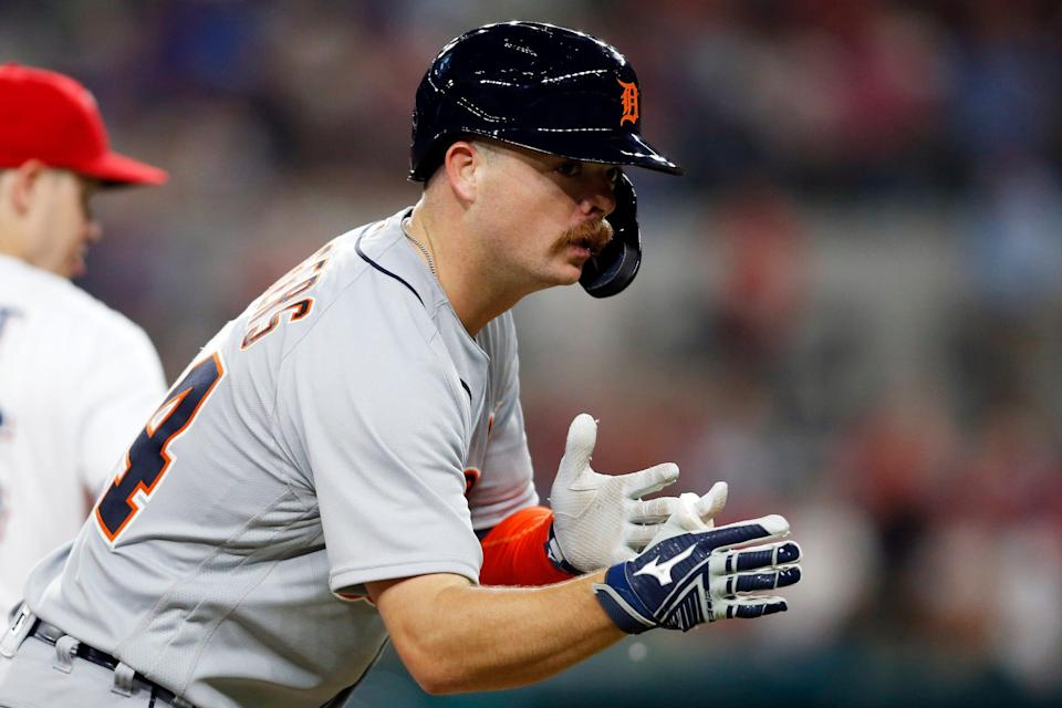Tigers catcher Jake Rogers reacts after reaching third base in the seventh inning of the Tigers' 10-5 loss to the Rangers on Tuesday, July 6, 2021, in Arlington, Texas.