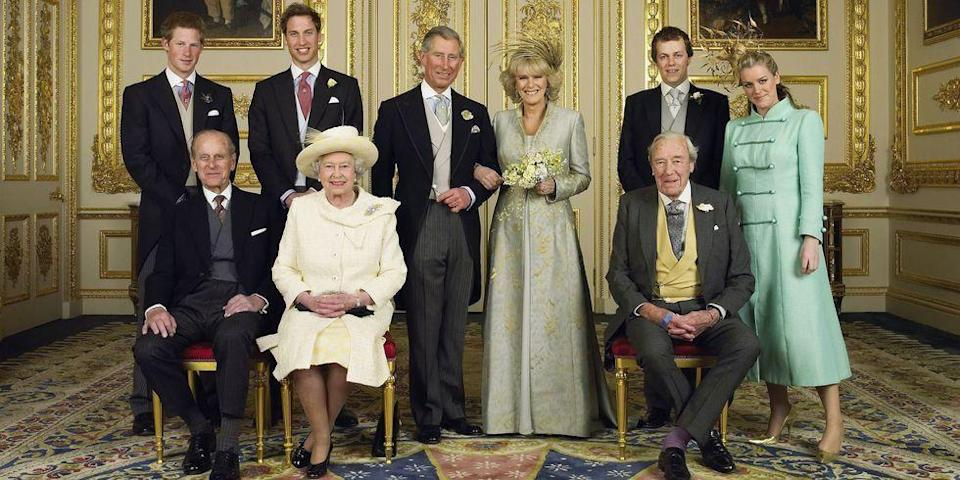 <p>Nine years after divorcing Diana, Prince Charles remarried Camilla Parker Bowles. The couple wed in a civil ceremony on April 8, 2005. The Queen didn't attend the nuptials, but was present at the reception afterwards. </p><p>This photo, taken at the White Drawing Room at Windsor Castle, features the married couple with Prince Harry, Prince William (the best man), Prince Philip, the Queen, Tom and Laura Parker Bowles, and Camilla's father, Bruce Shand. </p>