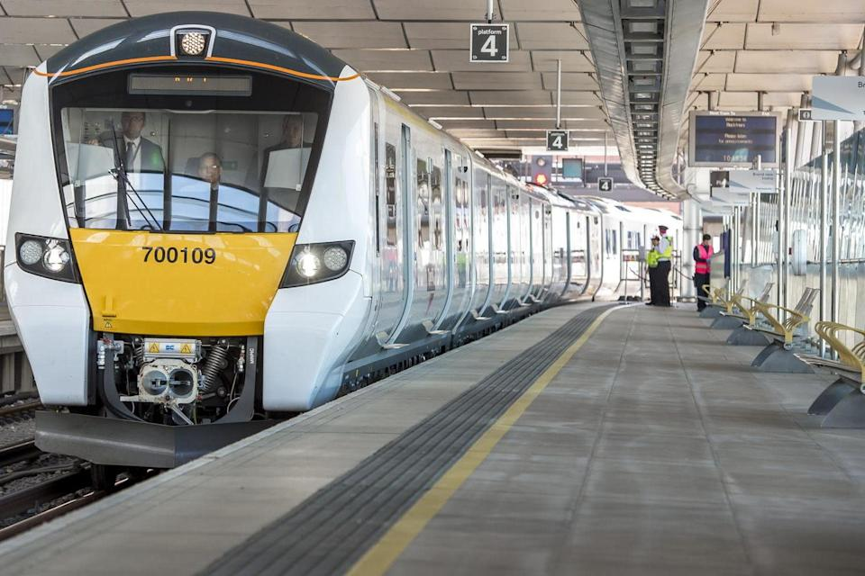 Happier times: a Thameslink train at Blackfriars: Thameslink