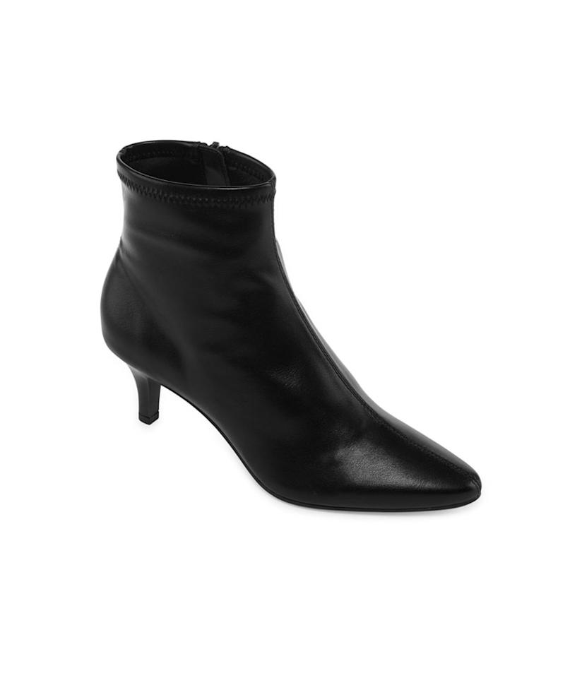 "<p>A smooth leather kitten-heel bootie for all occasions. <br /><a rel=""nofollow"" href=""https://fave.co/2Ox8XhK"">Shop it:</a> Women's Newbury Bootie Stiletto Heel Zip, $40, <a rel=""nofollow"" href=""https://fave.co/2Ox8XhK"">jcpenney.com</a> </p>"