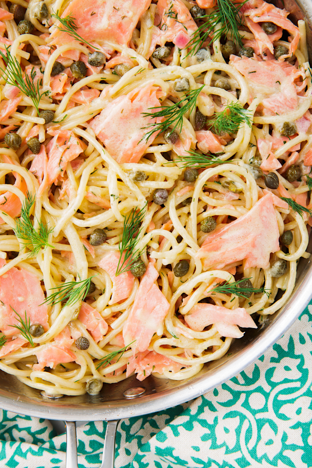 """<p>Super easy (and sounds fancy)!</p><p>Get the recipe from <a href=""""https://www.delish.com/cooking/recipe-ideas/a24856400/smoked-salmon-pasta-recipe/"""" rel=""""nofollow noopener"""" target=""""_blank"""" data-ylk=""""slk:Delish"""" class=""""link rapid-noclick-resp"""">Delish</a>. </p>"""