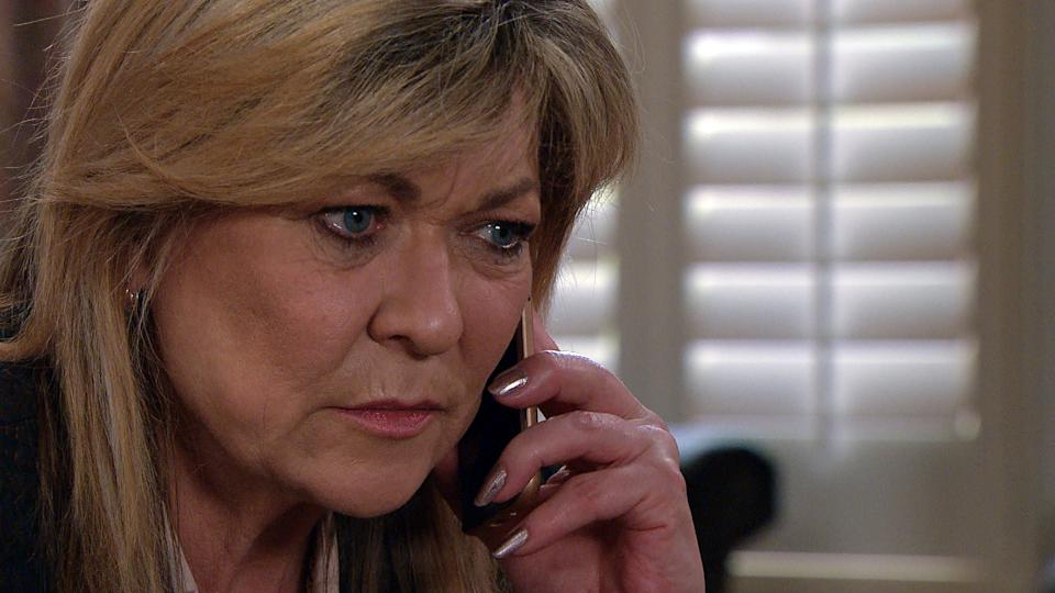 FROM ITV  STRICT EMBARGO  Print media - No Use Before Tuesday 11th May 2021 Online Media - No Use Before 0700hrs Tuesday 11th May  2021  Emmerdale - Ep 9050  Tuesday 18th May 2021  Kim Tate [CLAIRE KING] makes a difficult phone call, as she asks her doctor for a proper dementia test.   Picture contact David.crook@itv.com   This photograph is (C) ITV Plc and can only be reproduced for editorial purposes directly in connection with the programme or event mentioned above, or ITV plc. Once made available by ITV plc Picture Desk, this photograph can be reproduced once only up until the transmission [TX] date and no reproduction fee will be charged. Any subsequent usage may incur a fee. This photograph must not be manipulated [excluding basic cropping] in a manner which alters the visual appearance of the person photographed deemed detrimental or inappropriate by ITV plc Picture Desk. This photograph must not be syndicated to any other company, publication or website, or permanently archived, without the express written permission of ITV Picture Desk. Full Terms and conditions are available on  www.itv.com/presscentre/itvpictures/terms