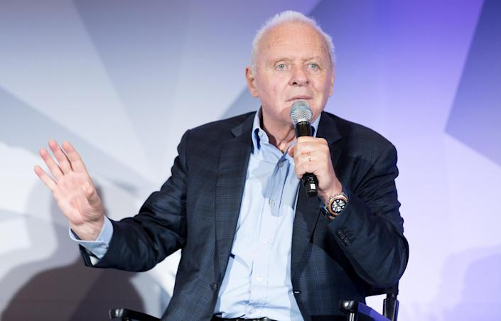 Sir Anthony Hopkins speaking at the LEAP Foundation (Greg Doherty / Getty Images)