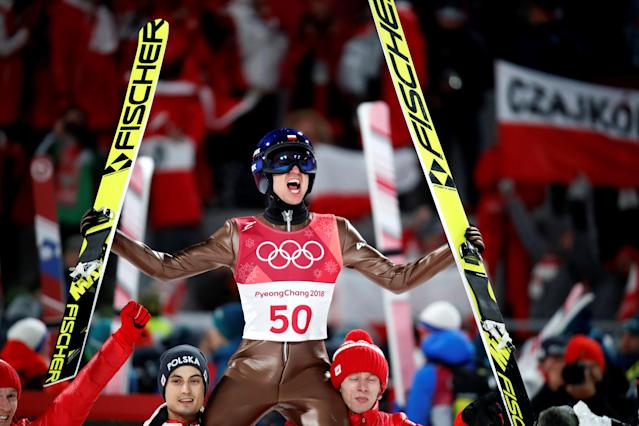 Ski Jumping - Pyeongchang 2018 Winter Olympics - Men's Large Hill Individual Final - Alpensia Ski Jumping Centre - Pyeongchang, South Korea - February 17, 2018. Kamil Stoch of Poland celebrates. REUTERS/Stefano Rellandini TPX IMAGES OF THE DAY