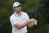 Patrick Cantlay watches his tee shot on the second hole during the final round of the BMW Championship golf tournament, Sunday, Aug. 29, 2021, at Caves Valley Golf Club in Owings Mills, Md. (AP Photo/Julio Cortez)