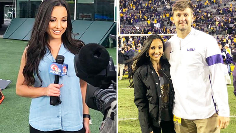 Carley McCord and husband Steven Esminger Jr, pictured here at college football games.