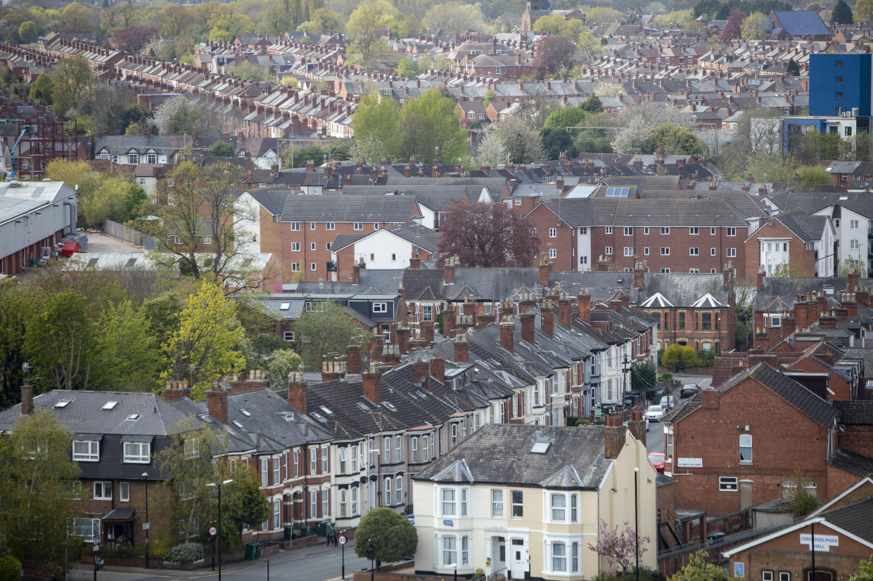 A view of terraced housing next to Coventry City Centre in Coventry