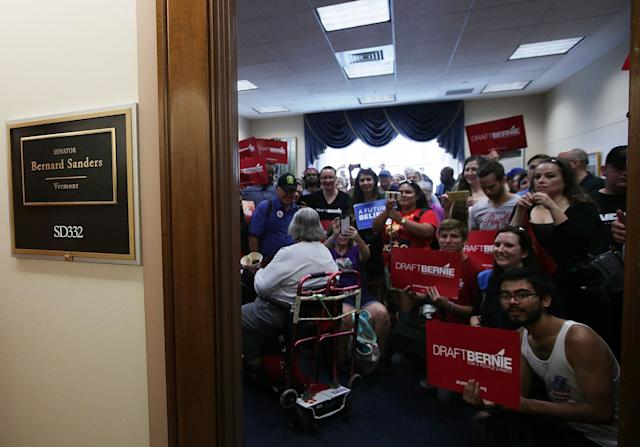 "Supporters of Sen. Bernie Sanders (I-Vt.) pack his office on Sept. 8, 2017. Members of the ""Draft Bernie for a People's Party"" campaign delivered a petition with more than 50,000 signatures to urge the senator to start and lead a new political party."