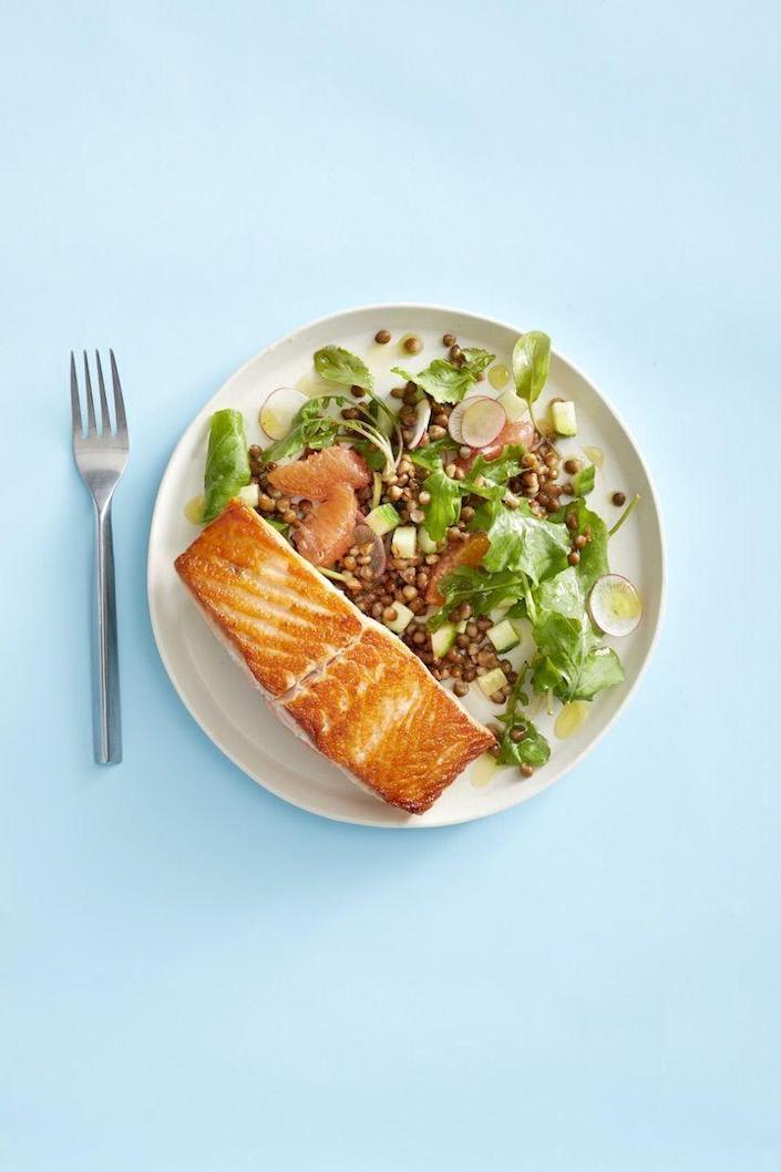 """<p>Salmon atop a bountiful, citrusy salad can be ready in just 15 minutes flat if you have all six of these ingredients at hand.</p><p><a href=""""https://www.goodhousekeeping.com/food-recipes/easy/a29830028/salmon-with-grapefruit-and-lentil-salad-recipe/"""" rel=""""nofollow noopener"""" target=""""_blank"""" data-ylk=""""slk:Get the recipe for Salmon With Grapefruit and Lentil Salad »"""" class=""""link rapid-noclick-resp""""><em>Get the recipe for Salmon With Grapefruit and Lentil Salad »</em></a></p><p><strong>RELATED: </strong><a href=""""https://www.goodhousekeeping.com/food-recipes/healthy/g448/salmon-recipes/"""" rel=""""nofollow noopener"""" target=""""_blank"""" data-ylk=""""slk:30+ Quick Salmon Dinners to Make On the Fly"""" class=""""link rapid-noclick-resp"""">30+ Quick Salmon Dinners to Make On the Fly</a></p>"""