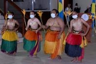 Traditional Palau dancers greeted the first group of tourists from Taiwan