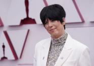 Diane Warren arrives at the Oscars on Sunday, April 25, 2021, at Union Station in Los Angeles. (AP Photo/Chris Pizzello, Pool)
