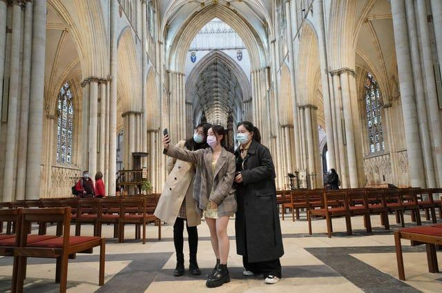 York Minster was a draw for visitors on the day lockdown eased (Danny Lawson/PA)