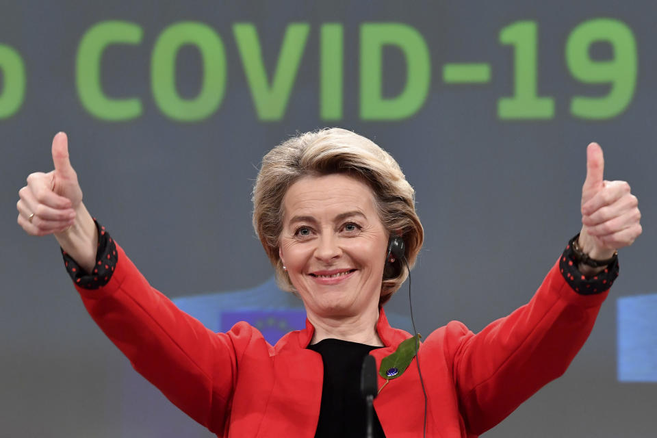 FILE - In this March 17, 2021, file photo, European Commission President Ursula von der Leyen gestures after participating in a media conference on the Commissions response to COVID-19 at EU headquarters in Brussels. COVID-19 has wrought division in the European Union. At the EU level, there has been no serious call for the ouster von der Leyen, despite her acknowledgment that serious mistakes were made. (John Thys, Pool via AP, File)