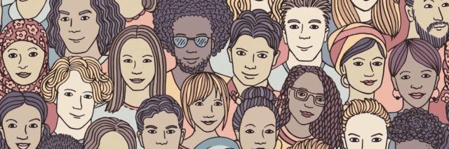 An illustration of a diverse crowd of people
