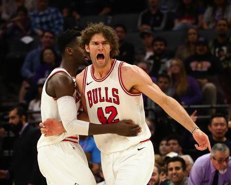 Feb 5, 2018; Sacramento, CA, USA; Chicago Bulls center Robin Lopez (42) reacts after receiving a technical during the second quarter against the Sacramento Kings at Golden 1 Center. Mandatory Credit: Kelley L Cox-USA TODAY Sports