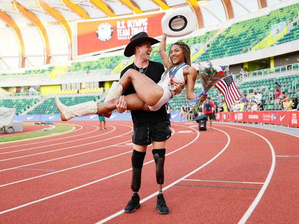 Tara Davis and Hunter Woodhall continue Olympic journey at Tokyo Games (Getty Images)