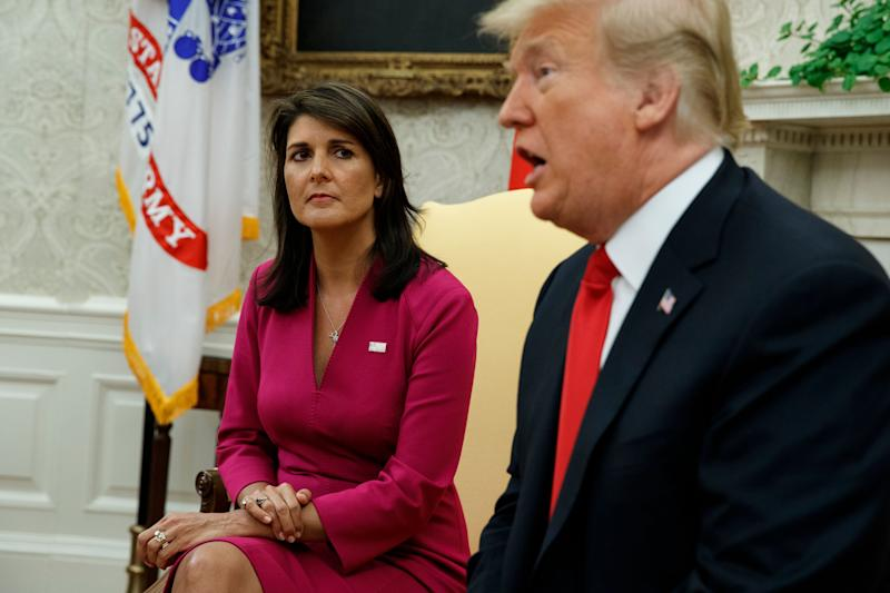 President Donald Trump speaks during a meeting with outgoing U.S. Ambassador to the United Nations Nikki Haley in the Oval Office on Tuesday, Oct. 9, 2018. (Photo: ASSOCIATED PRESS)