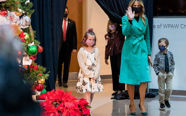 Ms Trump arrived wearing a mask and the White House say she wore one when she was not socially distanced from others - Jacquelyn Martin/AP