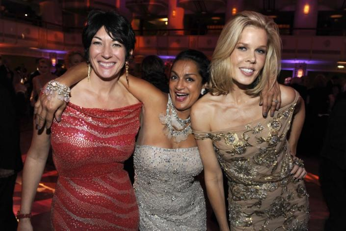 """<div class=""""inline-image__title""""> 817745532 </div> <div class=""""inline-image__caption""""> <p>Ghislaine Maxwell, Ranjana Khan and Mary Alice Stephenson attend(s) 2010 Alzheimer's Association Rita Hayworth Gala at the Waldorf Astoria on October 26th, 2010 in New York City. </p> </div> <div class=""""inline-image__credit""""> Marc Dimov/Patrick McMullan via Getty </div>"""