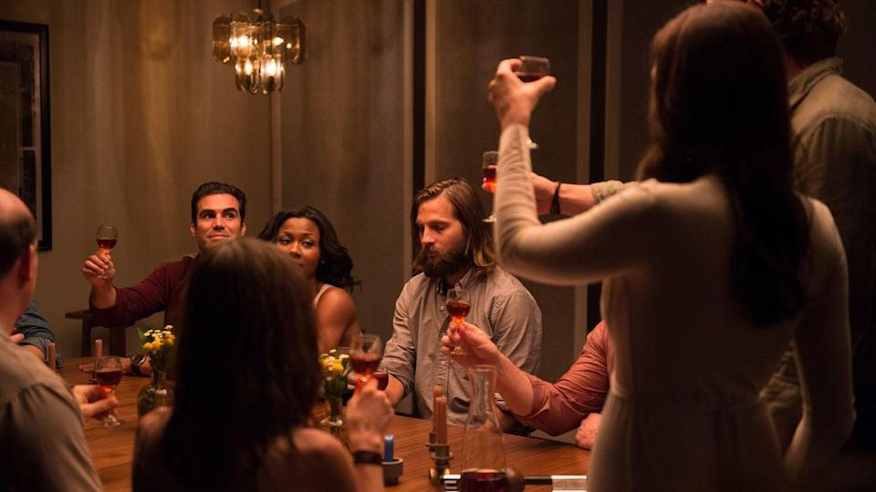 "<p>When a man accepts an invitation to a dinner party at his ex-wife's house, things go as one would expect: extremely bad. It turns out she and her new husband have cooked up some evil plans for the rest of the night.</p> <p><a href=""https://www.netflix.com/title/80048977"" class=""link rapid-noclick-resp"" rel=""nofollow noopener"" target=""_blank"" data-ylk=""slk:Watch The Invitation on Netflix now."">Watch <strong>The Invitation</strong> on Netflix now.</a></p>"