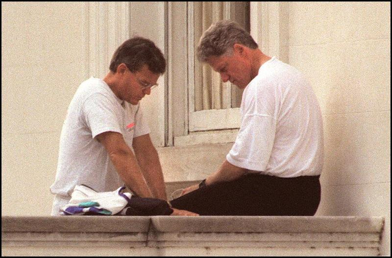 Bill Hybels was once a close adviser to President Bill Clinton. The two are seen on the North Portico of the White House after a morning jog on June 6, 1995. (LUKE FRAZZA via Getty Images)