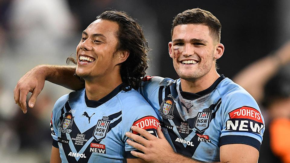 Pictured here, NSW teammates Jarome Luai and Nathan Cleary share a laugh in Origin Game I.