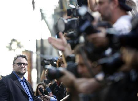 """Director Guillermo del Toro is interviewed at the premiere of """"Pacific Rim"""" at Dolby theatre in Hollywood"""