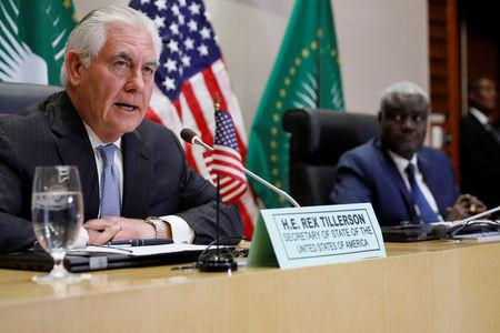 Faki and Tillerson hold a news conference at African Union (AU) headquarters in Addis Ababa, Ethiopia