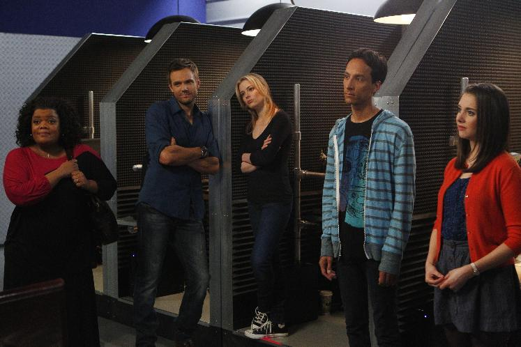 "This image released by NBC shows cast members from ""Community,"" from left, Yvette Nicole Brown as Shirley, Joel McHale as Jeff, Gillian Jacobs as Britta, Danny Pudi as Abed, and Alison Brie as Annie. ""Community"" returned as a mid-season replacement in February _ for the first time without any involvement from creator Dan Harmon.  (AP Photo/NBC, Trae Patton)"