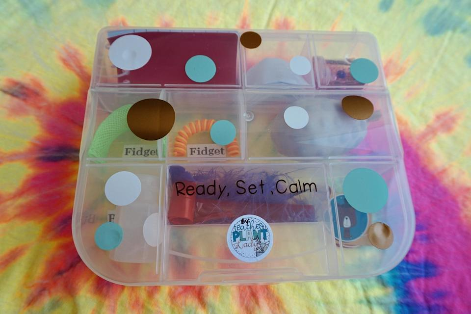 <p>Created by a special education teacher, the <span>Ready, Set, Calm: Calm Down Kit</span> ($22) includes a mini notepad and pencil, fidget toys, and scented bubbles.</p>
