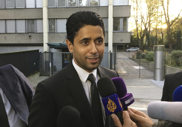 FILE - In this Wednesday Oct. 25, 2017 file photo, Paris Saint-Germain president Nasser Al-Khelaifi speaks to the media after a meeting today with Swiss prosecutors in Bern, Switzerland. Al-Khelaifi has been questioned again by Swiss federal prosecutors in a two-year investigation into allegations he bribed a FIFA official. The office of Switzerlands attorney general said on Monday, Dec. 2, 2019 al-Khelaifi, former FIFA secretary general Jerome Valcke and an unidentified businessman presented themselves for questioning in the Swiss capital. (AP Photo/Graham Dunbar, file)