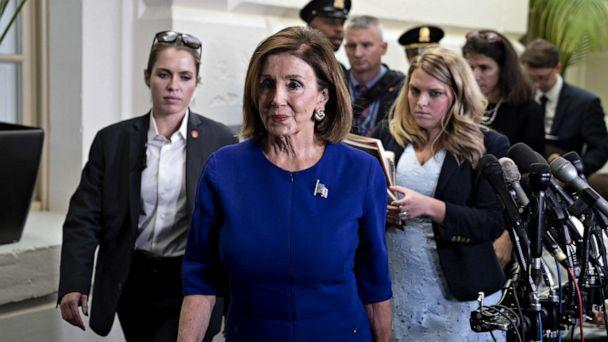 PHOTO: U.S. House Speaker Nancy Pelosi, a Democrat from California, exits a Democratic caucus meeting at the U.S. Capitol in Washington, D.C., U.S., on Tuesday, Sept. 24, 2019. (Andrew Harrer/Bloomberg via Getty Images)