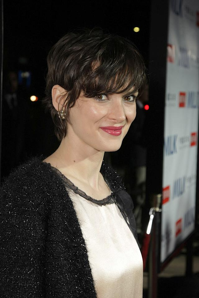 """<a href=""""http://movies.yahoo.com/movie/contributor/1800010920"""">Winona Ryder</a> at the Los Angeles premiere of <a href=""""http://movies.yahoo.com/movie/1810041985/info"""">Milk</a> - 11/13/2008"""