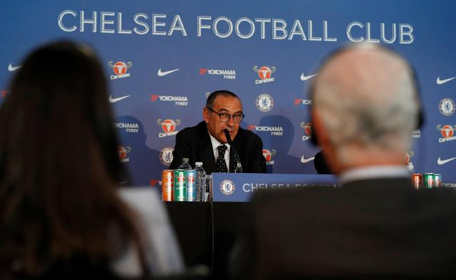 Soccer Football - Premier League - Chelsea present new manager Maurizio Sarri - Stamford Bridge, London, Britain - July 18, 2018 New Chelsea manager Maurizio Sarri during the press conference Action Images via Reuters/John Sibley