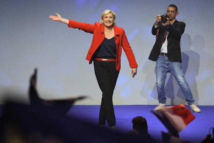 Far-right leader Marine Le Pen has around 23 percent of the vote with less than a week to go, according to polls (AFP Photo/ALAIN JOCARD)