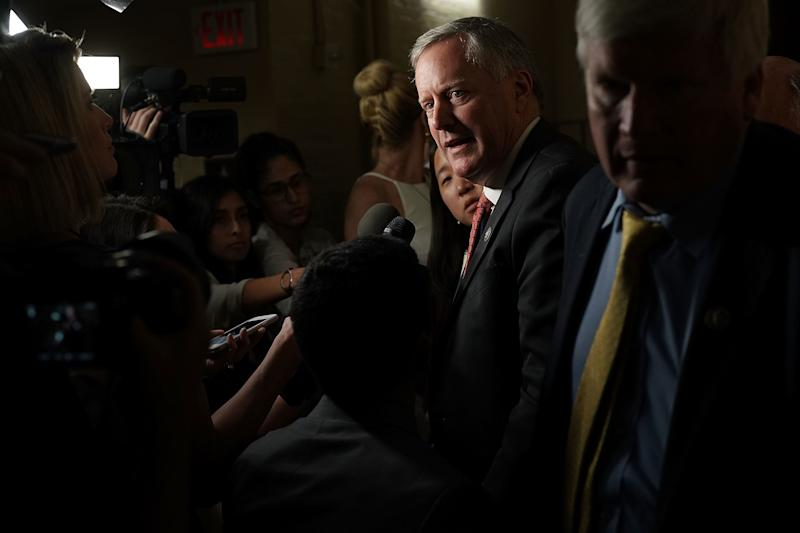 Rep. Mark Meadows (R-N.C.), chairman of the conservative House Freedom Caucus, speaks to reporters about immigration Wednesday at the U.S. Capitol.