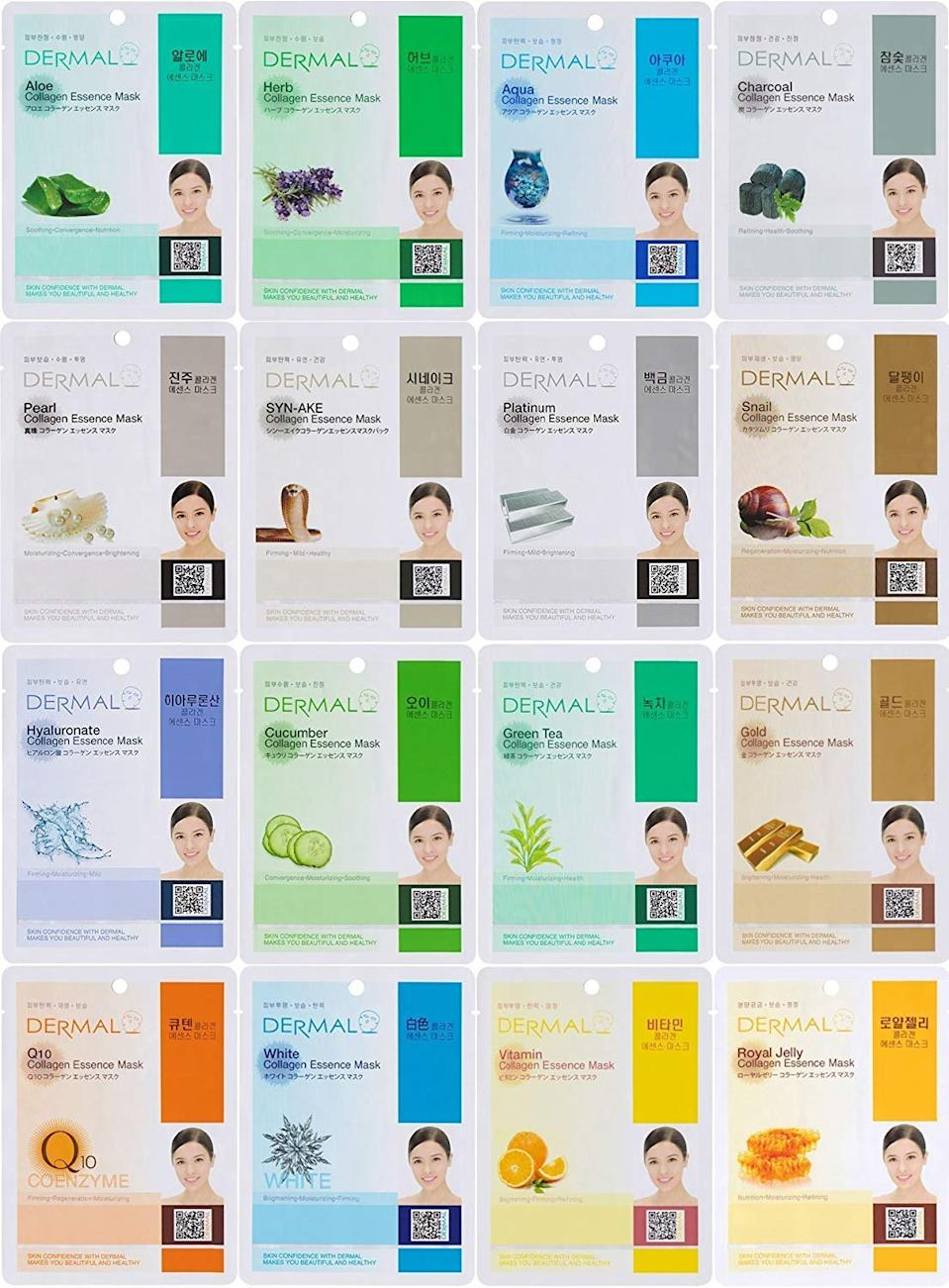 "<h2>Dermal Collagen Essence Face Mask</h2><br>Dermal's highly-rated vitamin E- and collagen sheet masks will liven up your complexion and help shake off any dullness caused by harsh weather (or your COVID mask). <br><br><strong>Dermal</strong> Collagen Essence Facial Mask (Set of 16), $, available at <a href=""https://www.amazon.com/Dermal-Korea-Collagen-Essence-Facial/dp/B00BAM7F8C/ref=zg_bsms_beauty_82"" rel=""nofollow noopener"" target=""_blank"" data-ylk=""slk:Amazon"" class=""link rapid-noclick-resp"">Amazon</a>"